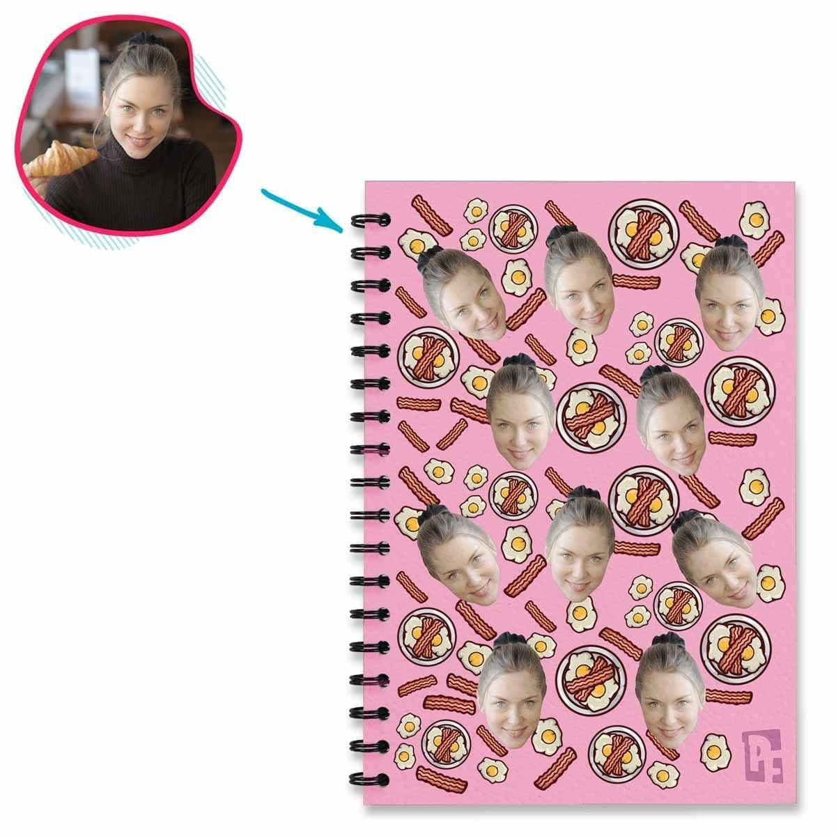 pink Bacon and Eggs Notebook personalized with photo of face printed on them