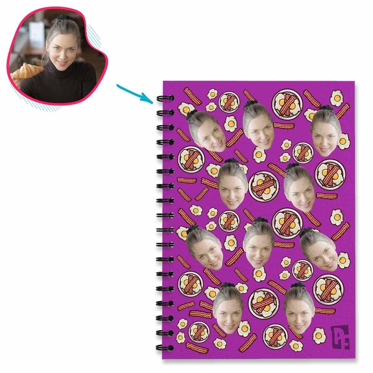 purple Bacon and Eggs Notebook personalized with photo of face printed on them