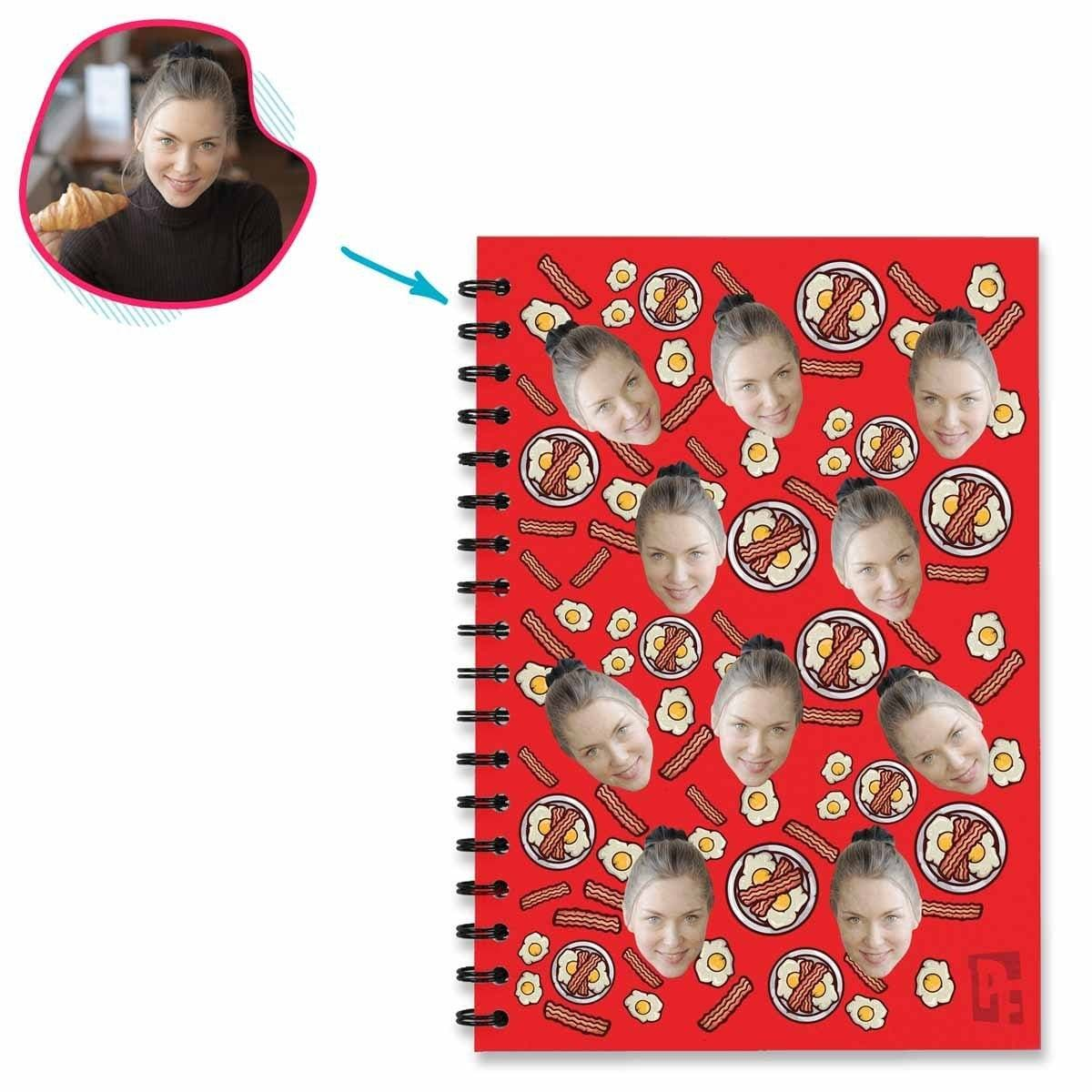 red Bacon and Eggs Notebook personalized with photo of face printed on them