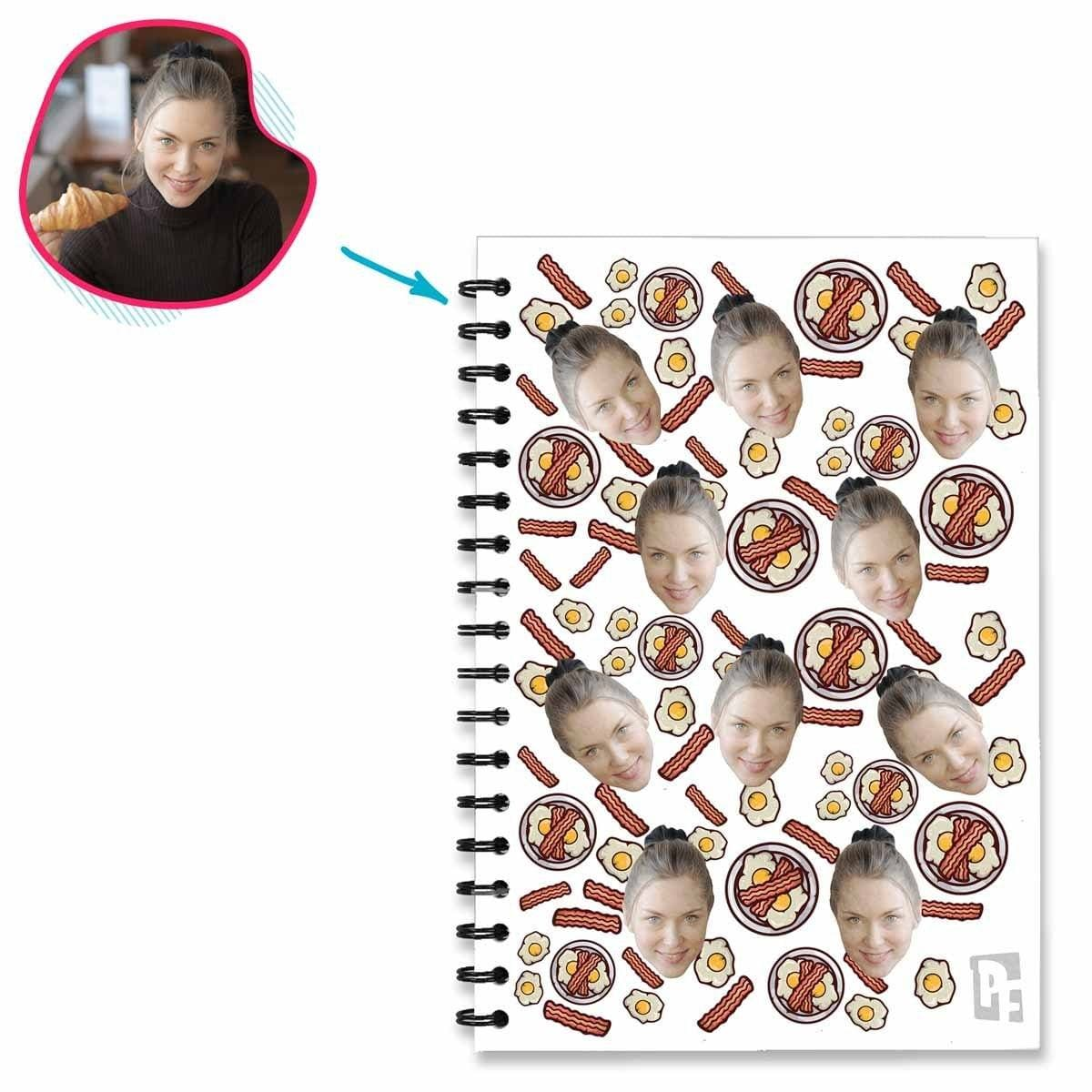 white Bacon and Eggs Notebook personalized with photo of face printed on them