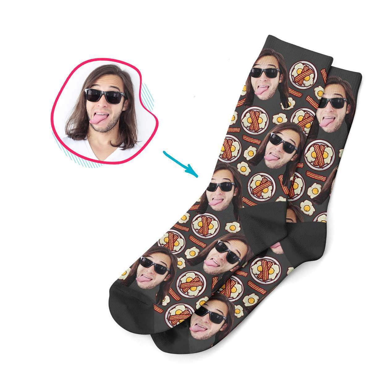 dark Bacon and Eggs socks personalized with photo of face printed on them