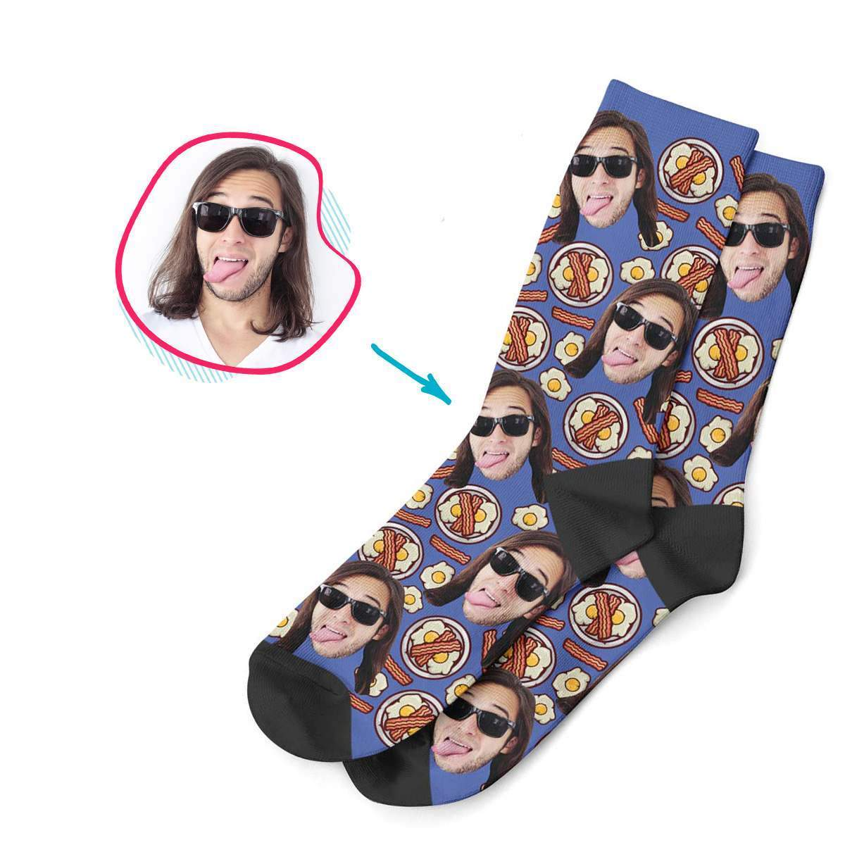 darkblue Bacon and Eggs socks personalized with photo of face printed on them