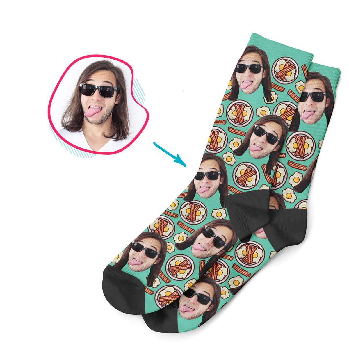 mint Bacon and Eggs socks personalized with photo of face printed on them