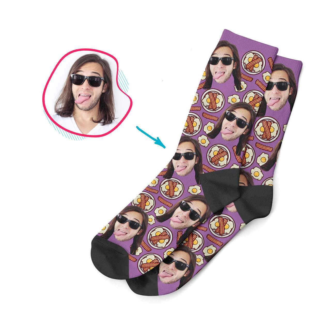 purple Bacon and Eggs socks personalized with photo of face printed on them
