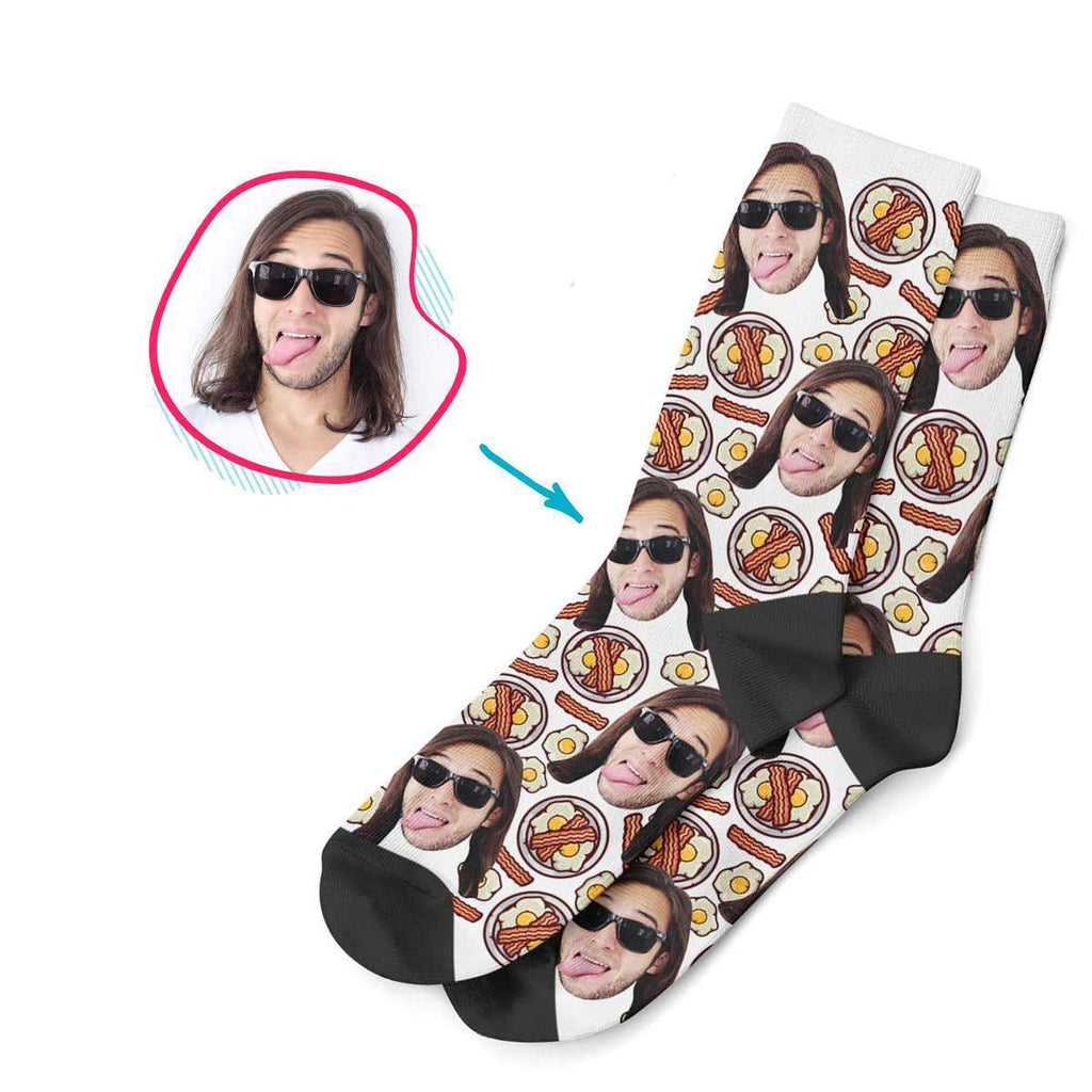 white Bacon and Eggs socks personalized with photo of face printed on them