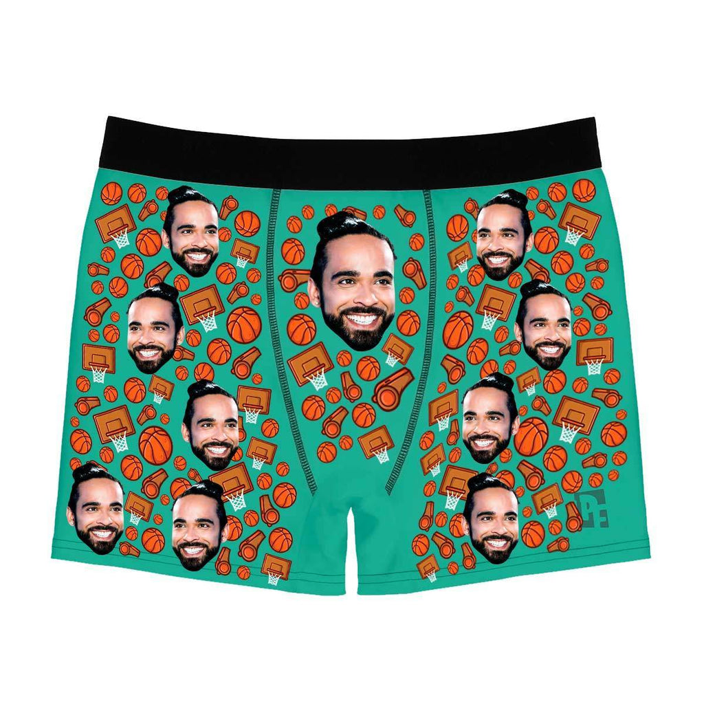 Mint Basketball men's boxer briefs personalized with photo printed on them