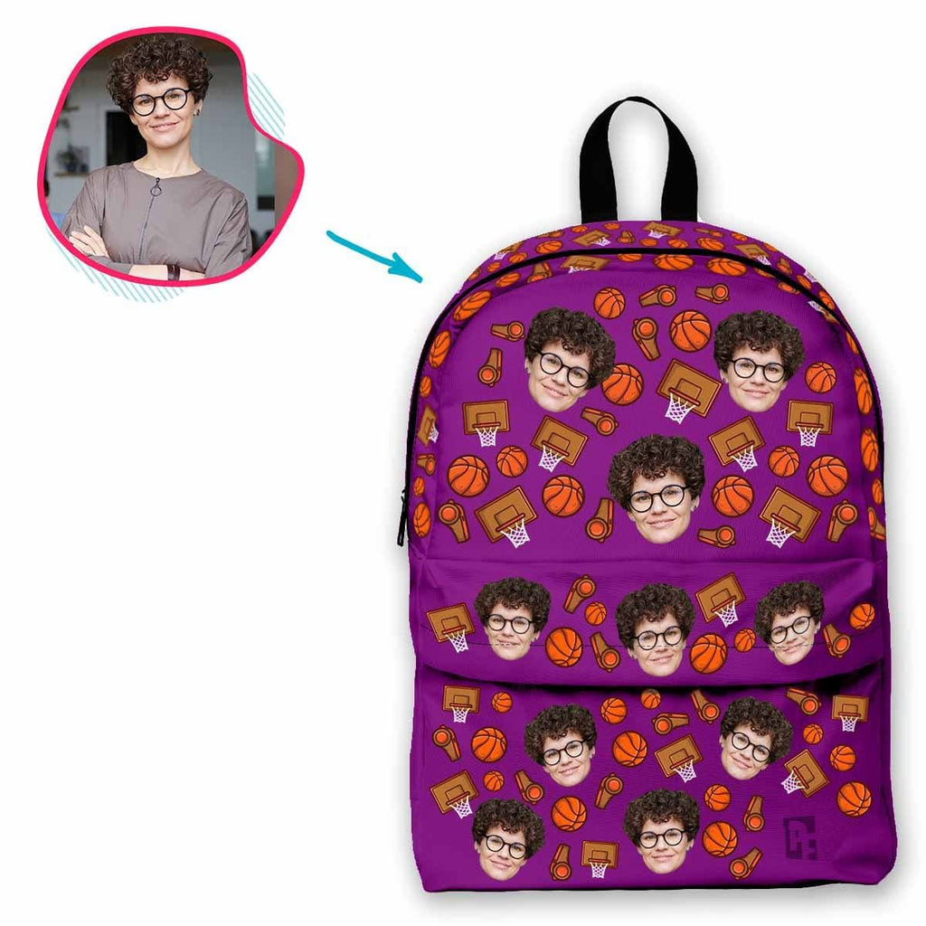 purple Basketball classic backpack personalized with photo of face printed on it