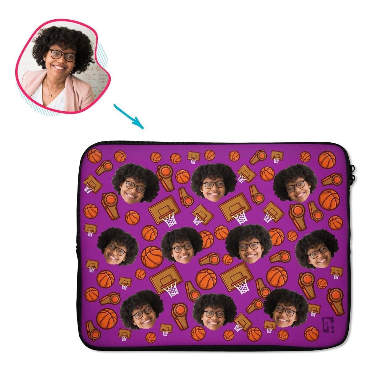 purple Basketball laptop sleeve personalized with photo of face printed on them