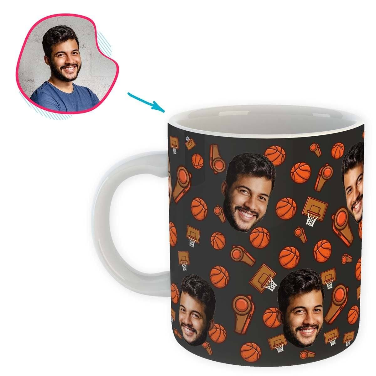 dark Basketball mug personalized with photo of face printed on it