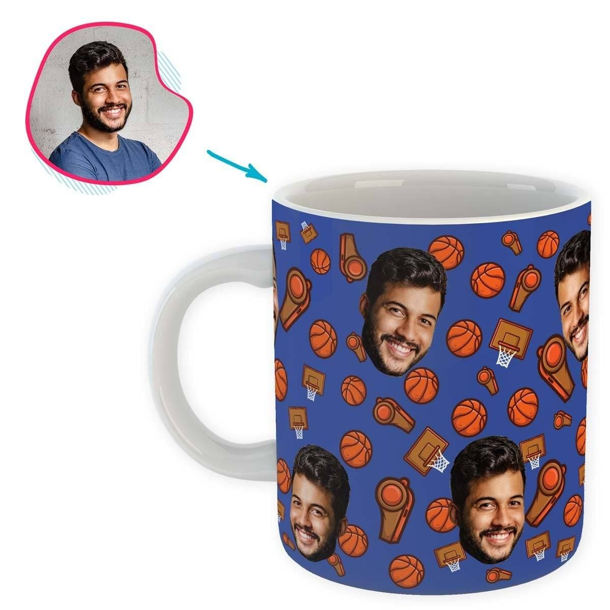 darkblue Basketball mug personalized with photo of face printed on it