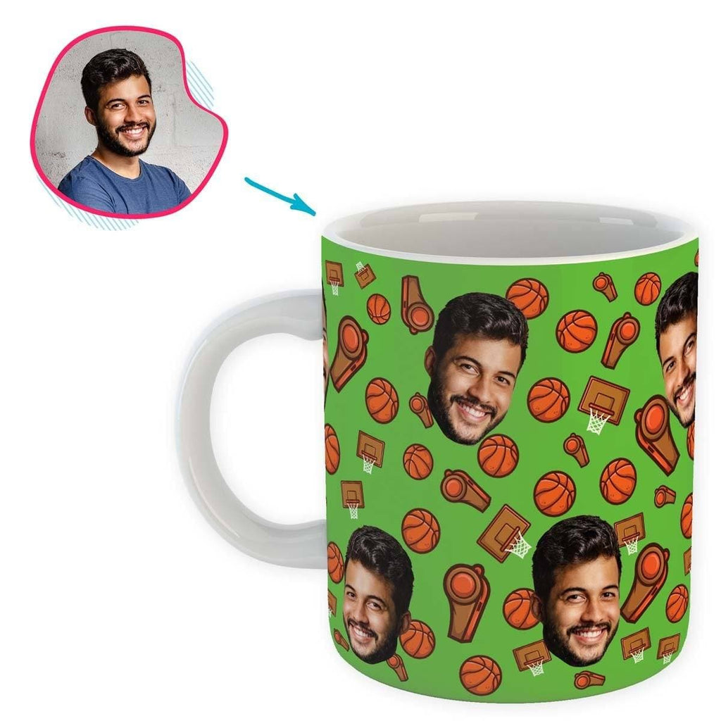green Basketball mug personalized with photo of face printed on it