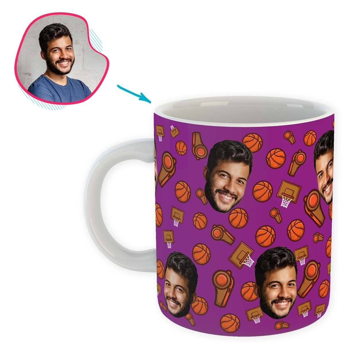 purple Basketball mug personalized with photo of face printed on it
