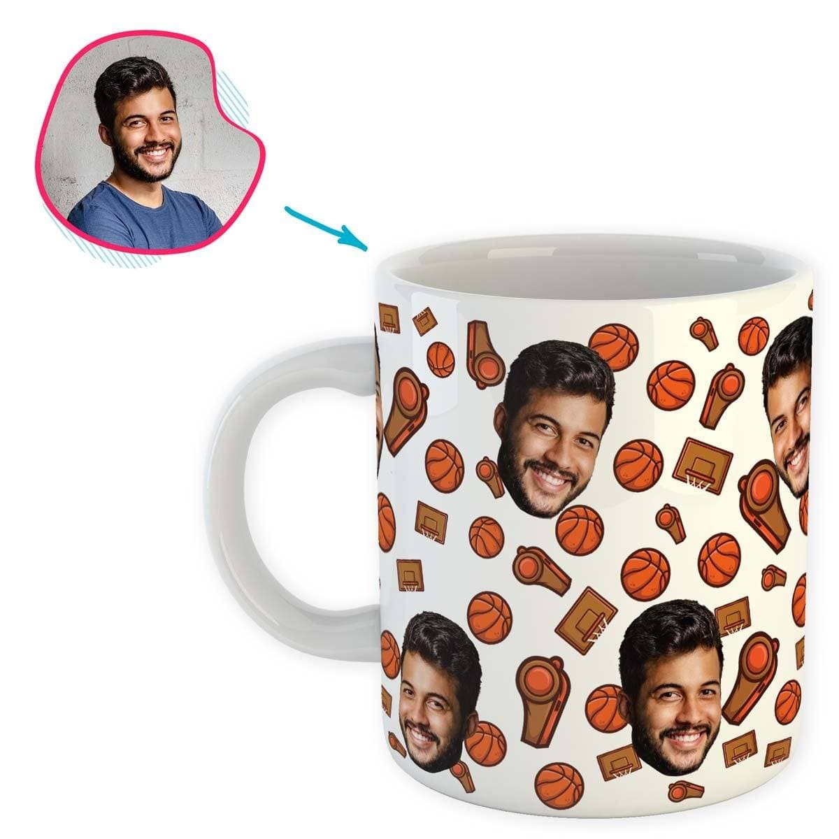 white Basketball mug personalized with photo of face printed on it