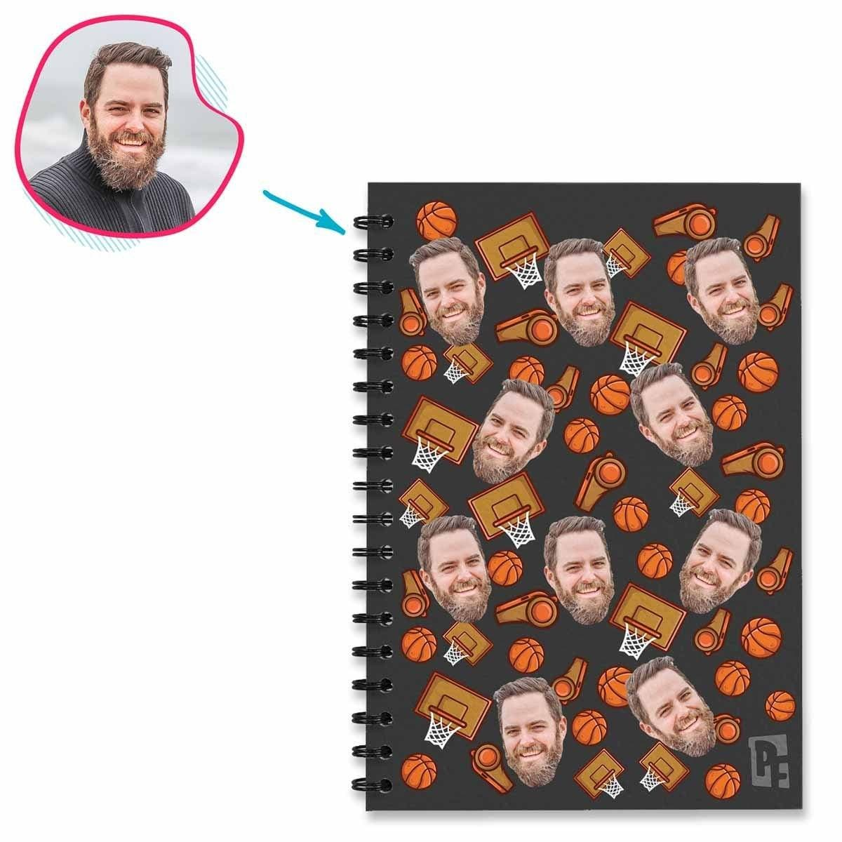 dark Basketball Notebook personalized with photo of face printed on them
