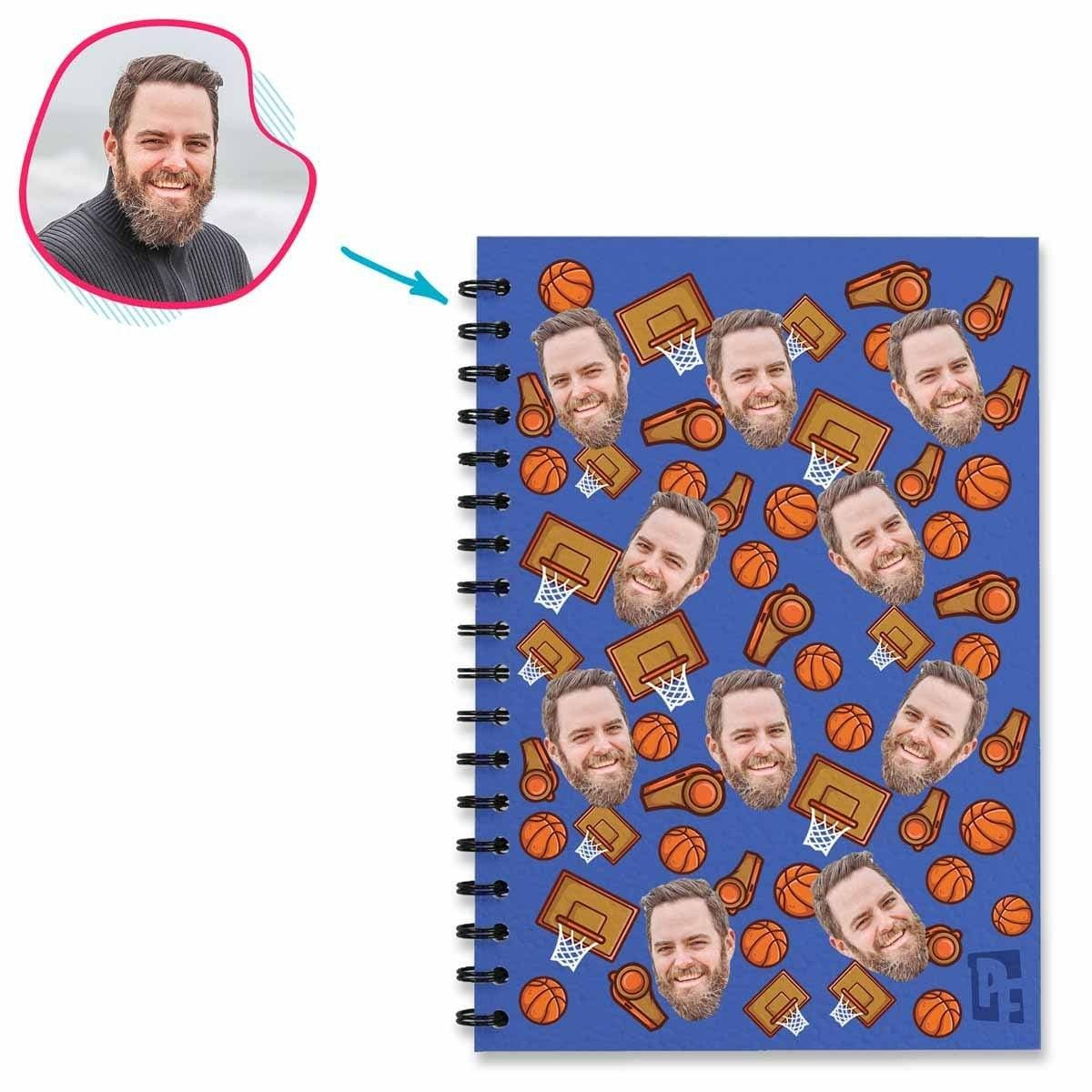 darkblue Basketball Notebook personalized with photo of face printed on them