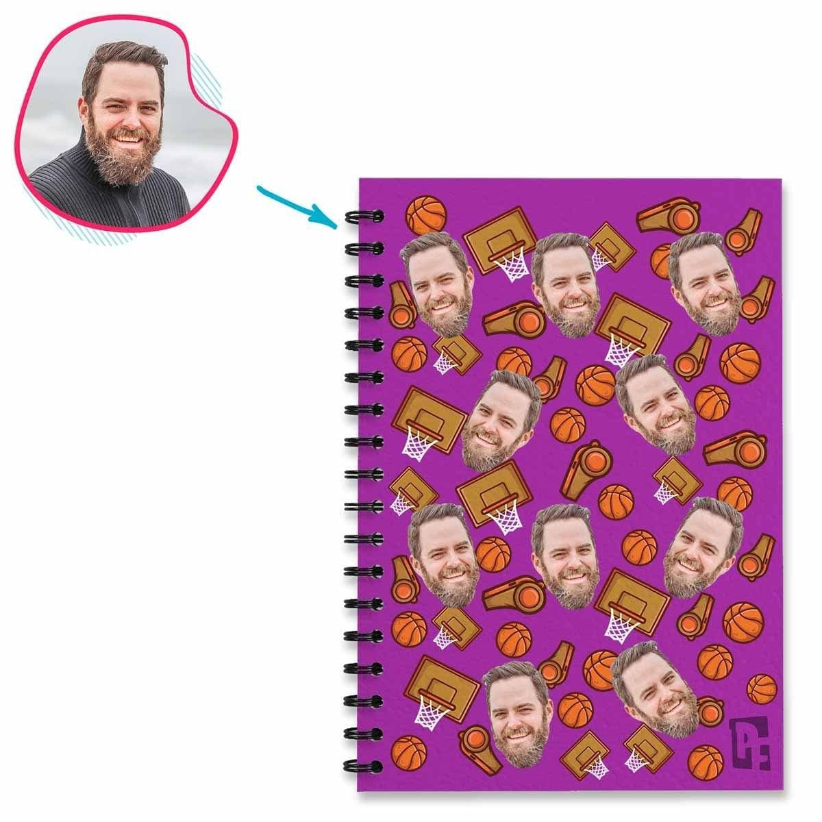 purple Basketball Notebook personalized with photo of face printed on them