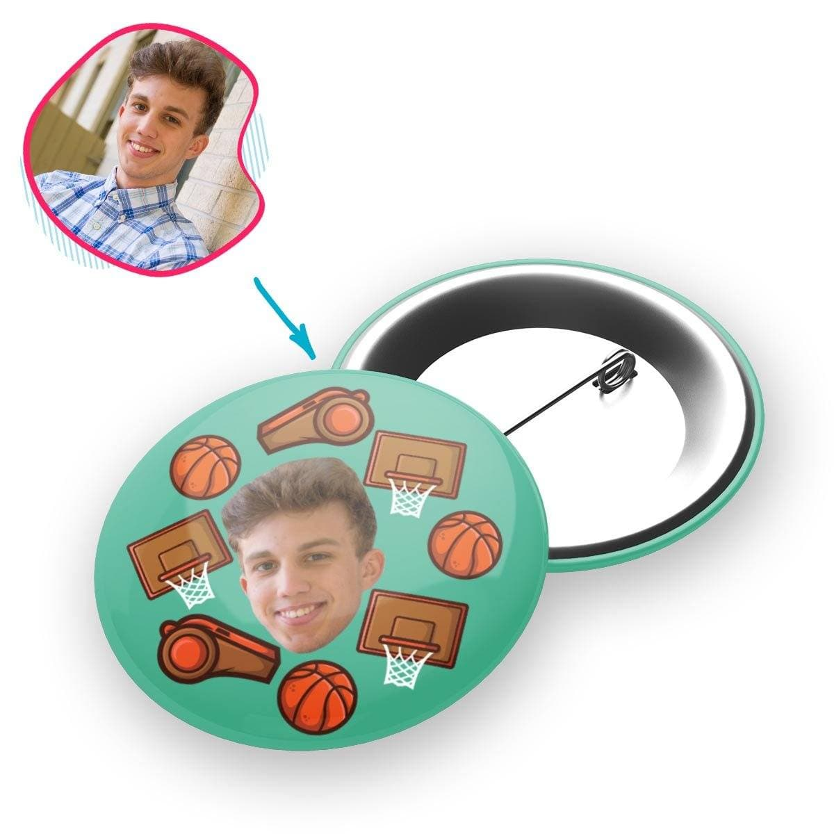 mint Basketball pin personalized with photo of face printed on it