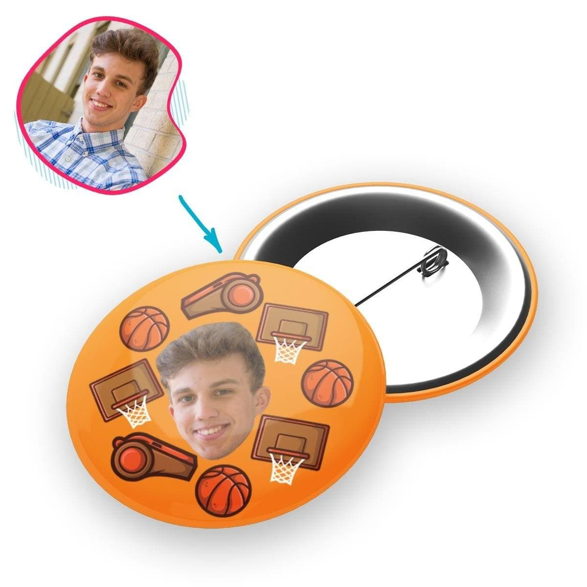 orange Basketball pin personalized with photo of face printed on it