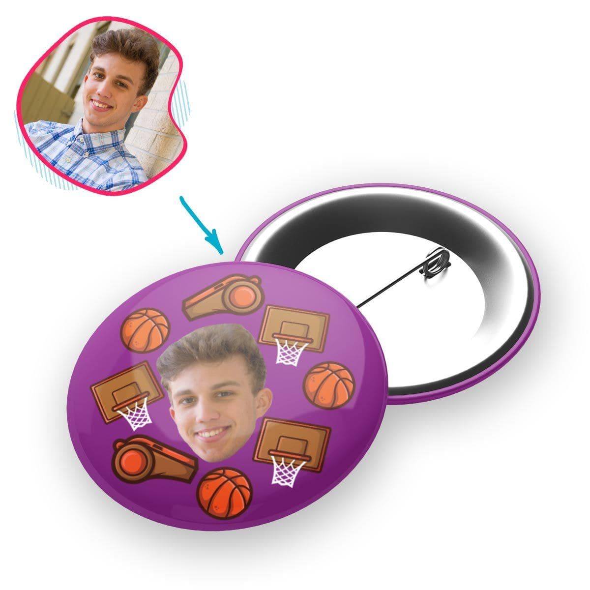 purple Basketball pin personalized with photo of face printed on it