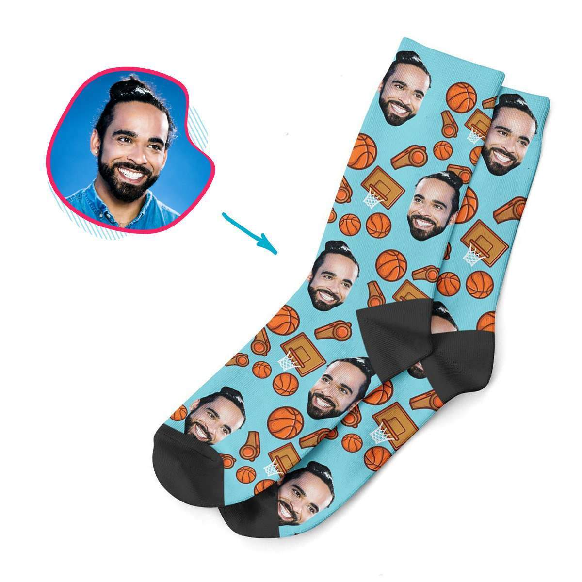 blue Basketball socks personalized with photo of face printed on them