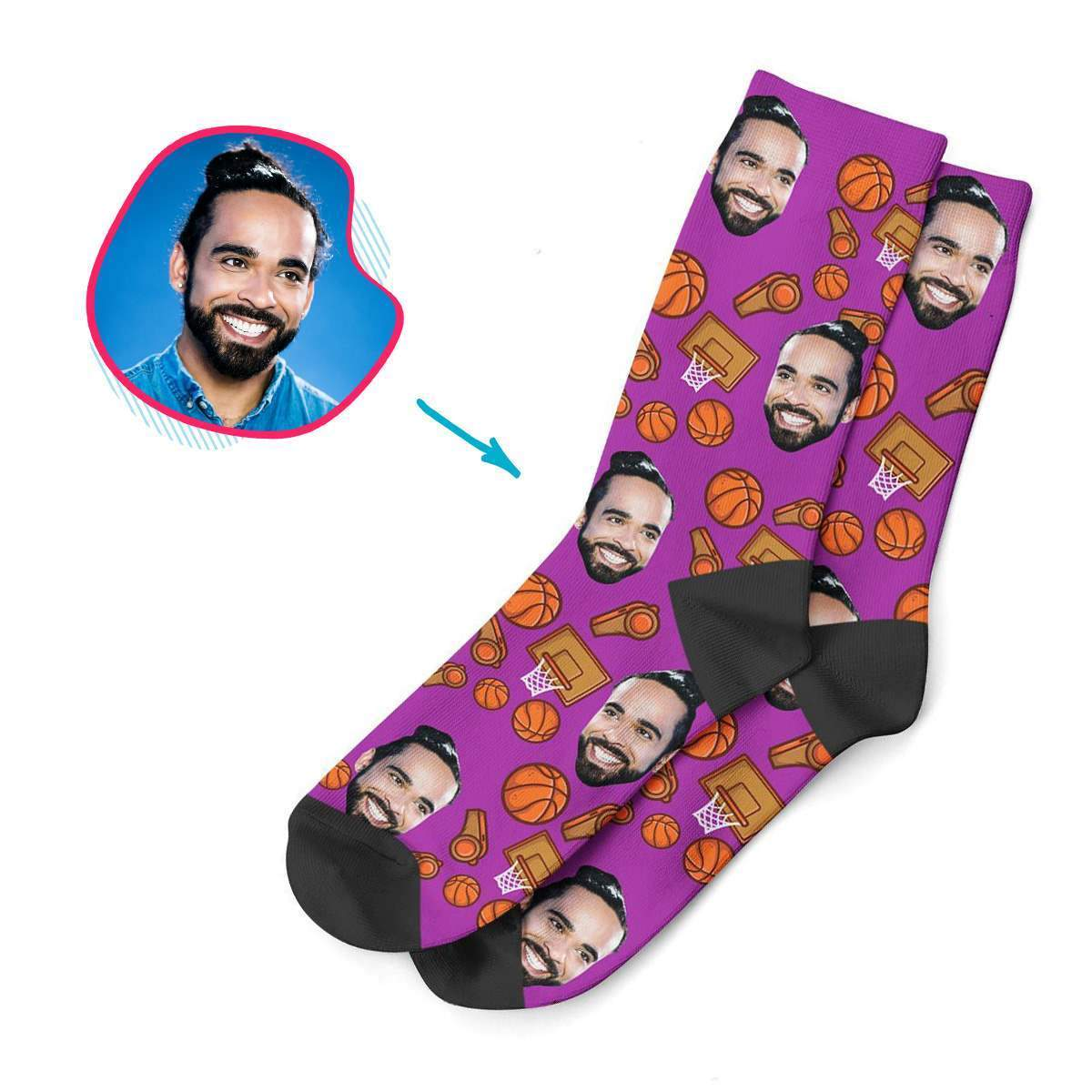 purple Basketball socks personalized with photo of face printed on them