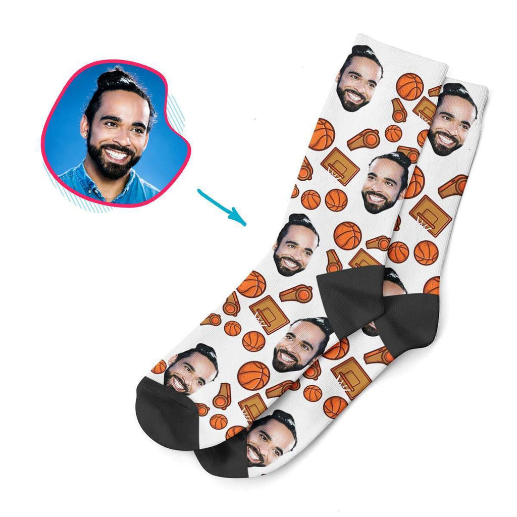 white Basketball socks personalized with photo of face printed on them