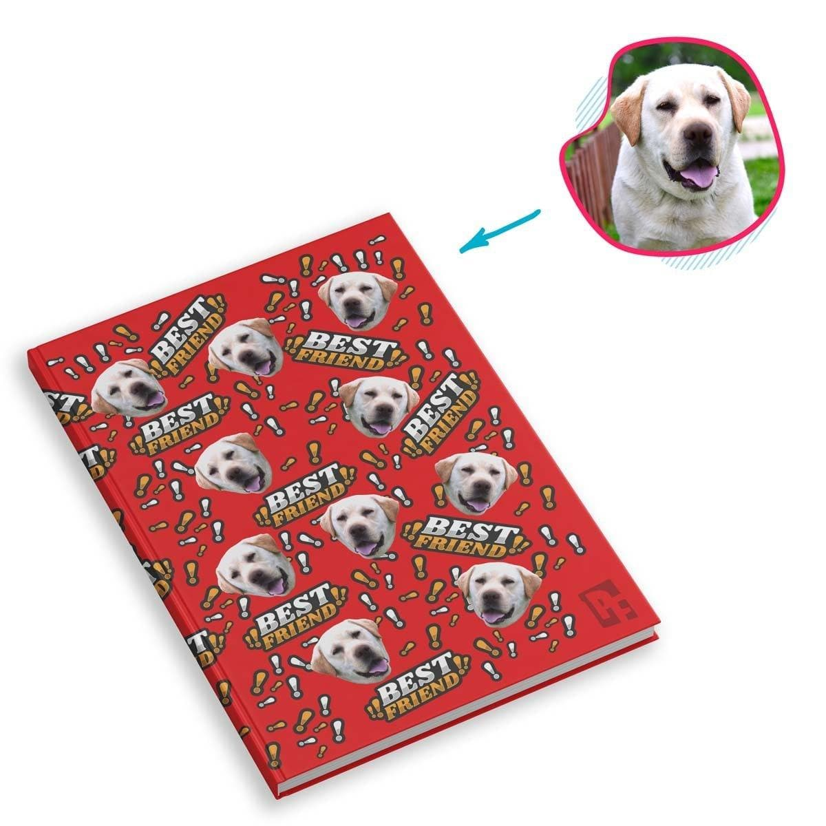 red Best Friend Notebook personalized with photo of face printed on them