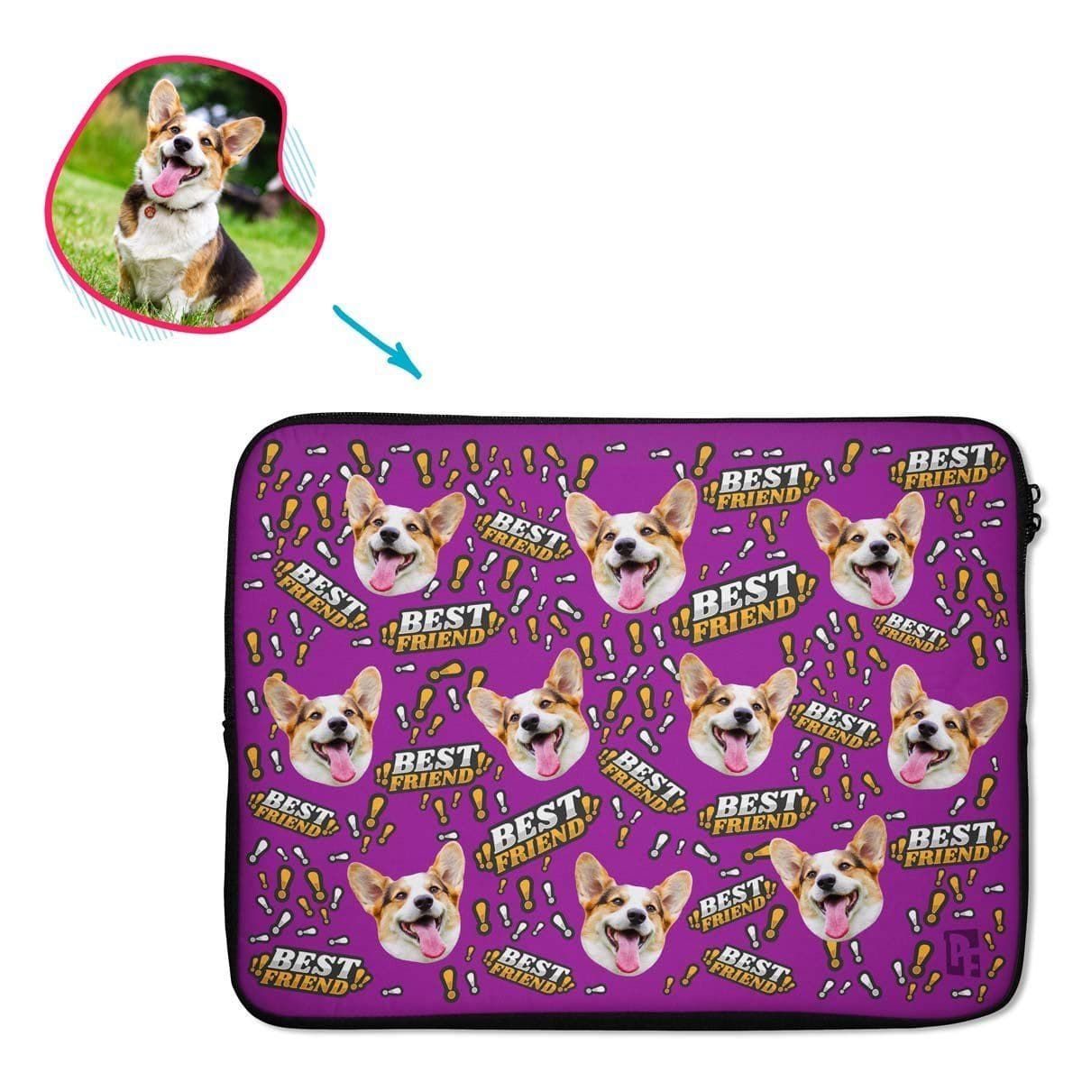 purple Best Friend laptop sleeve personalized with photo of face printed on them