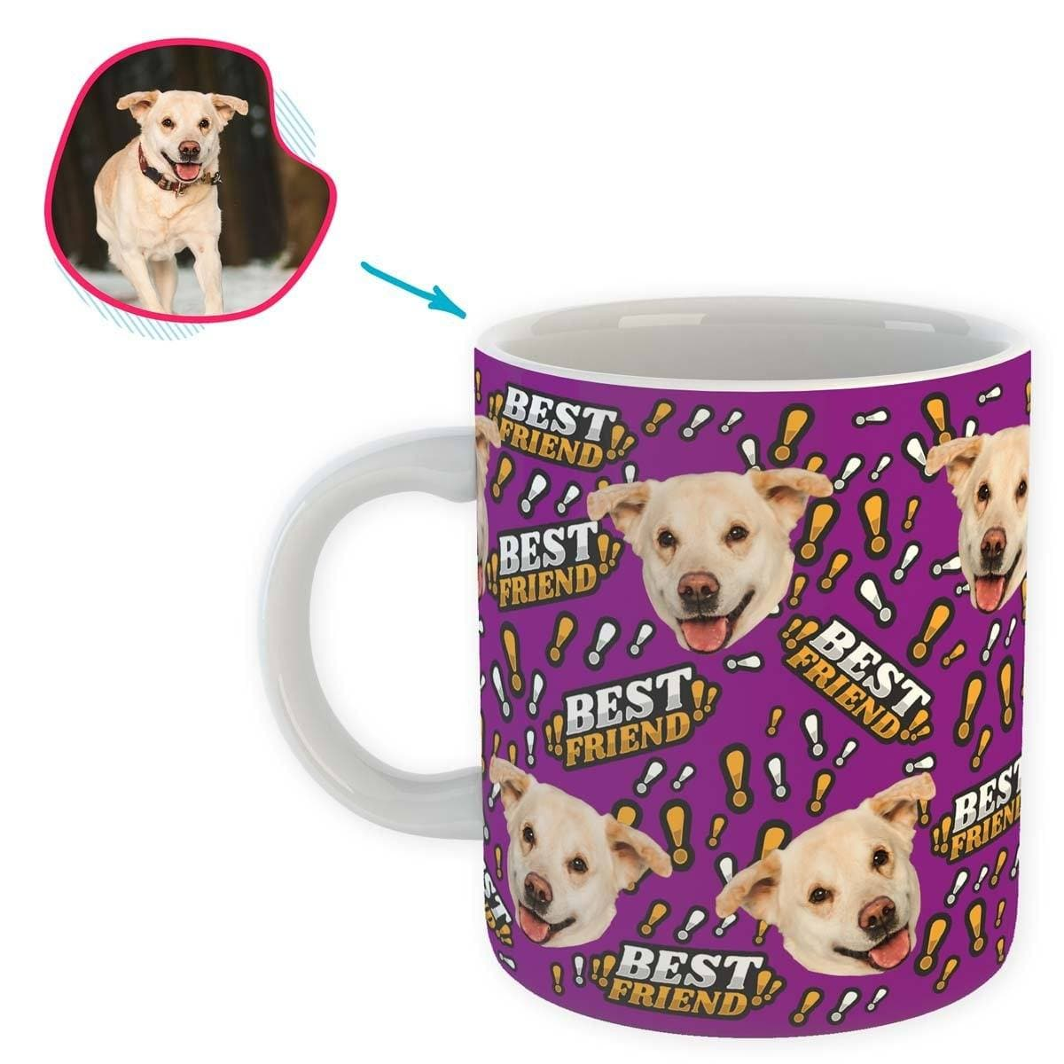 purple Best Friend mug personalized with photo of face printed on it