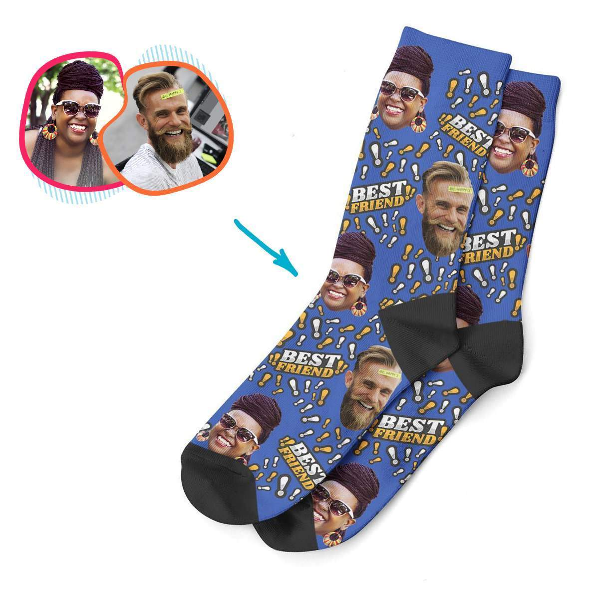 darkblue Best Friend socks personalized with photo of face printed on them