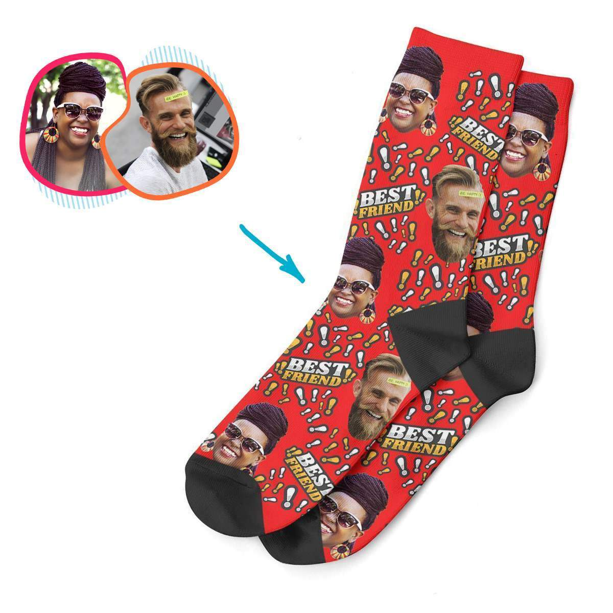 red Best Friend socks personalized with photo of face printed on them