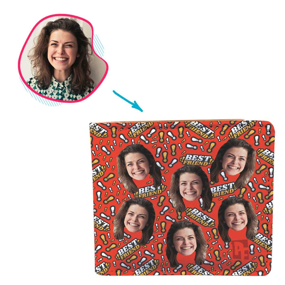 red Best Friend wallet personalized with photo of face printed on it