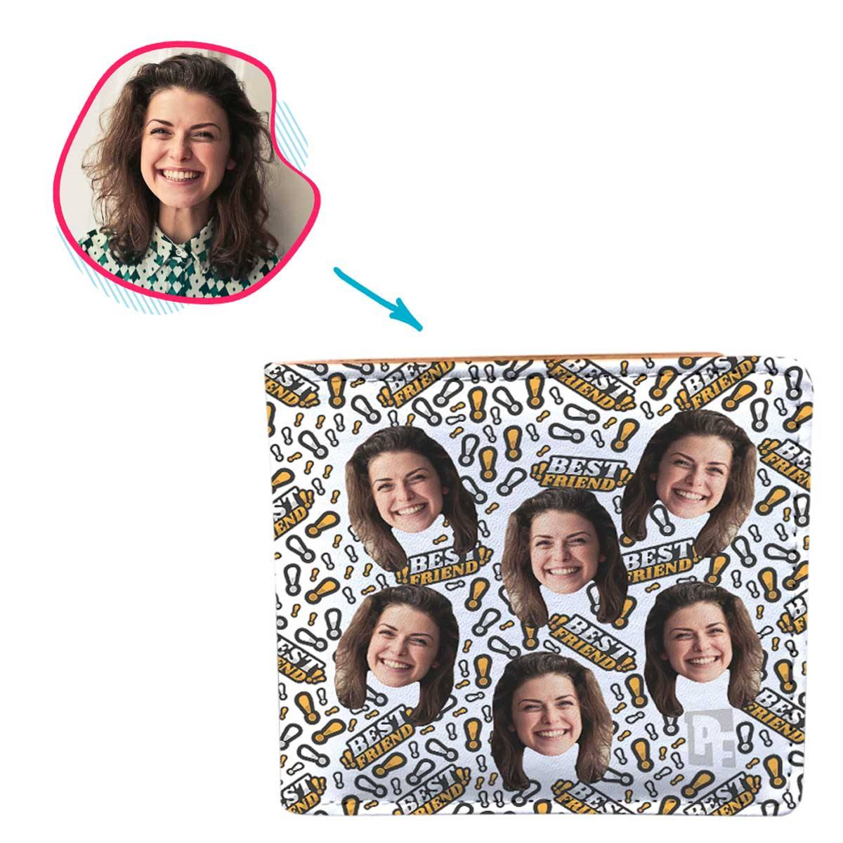 white Best Friend wallet personalized with photo of face printed on it