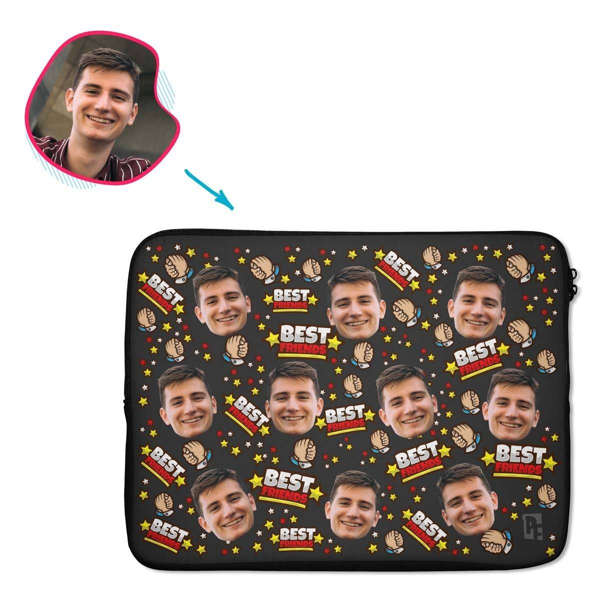 dark Best Friends laptop sleeve personalized with photo of face printed on them