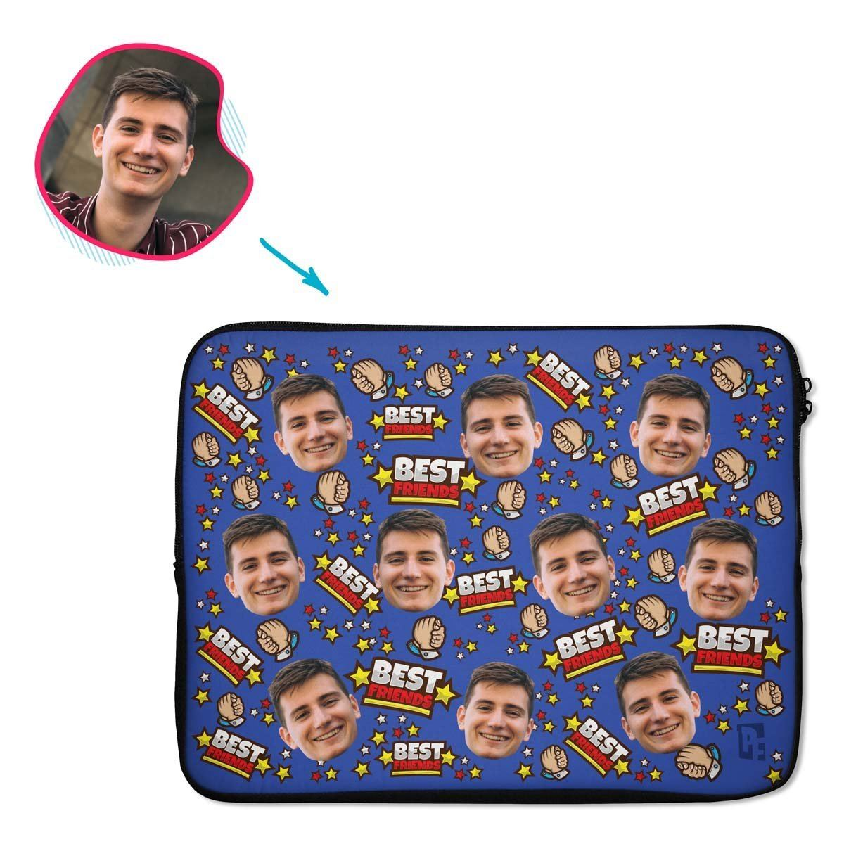 darkblue Best Friends laptop sleeve personalized with photo of face printed on them