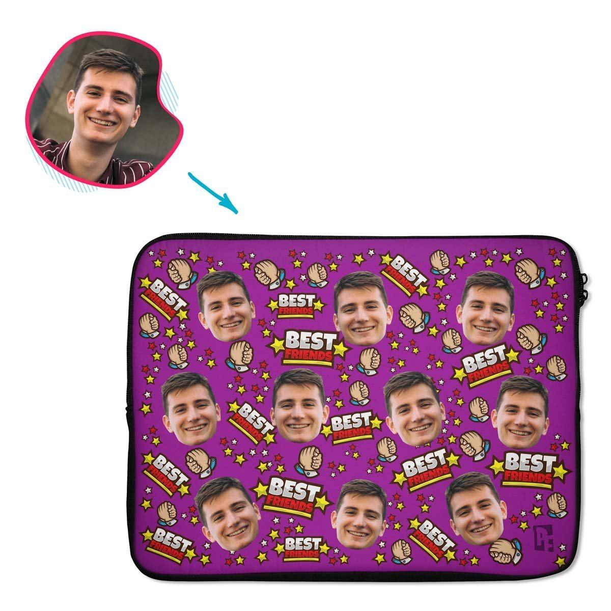 purple Best Friends laptop sleeve personalized with photo of face printed on them