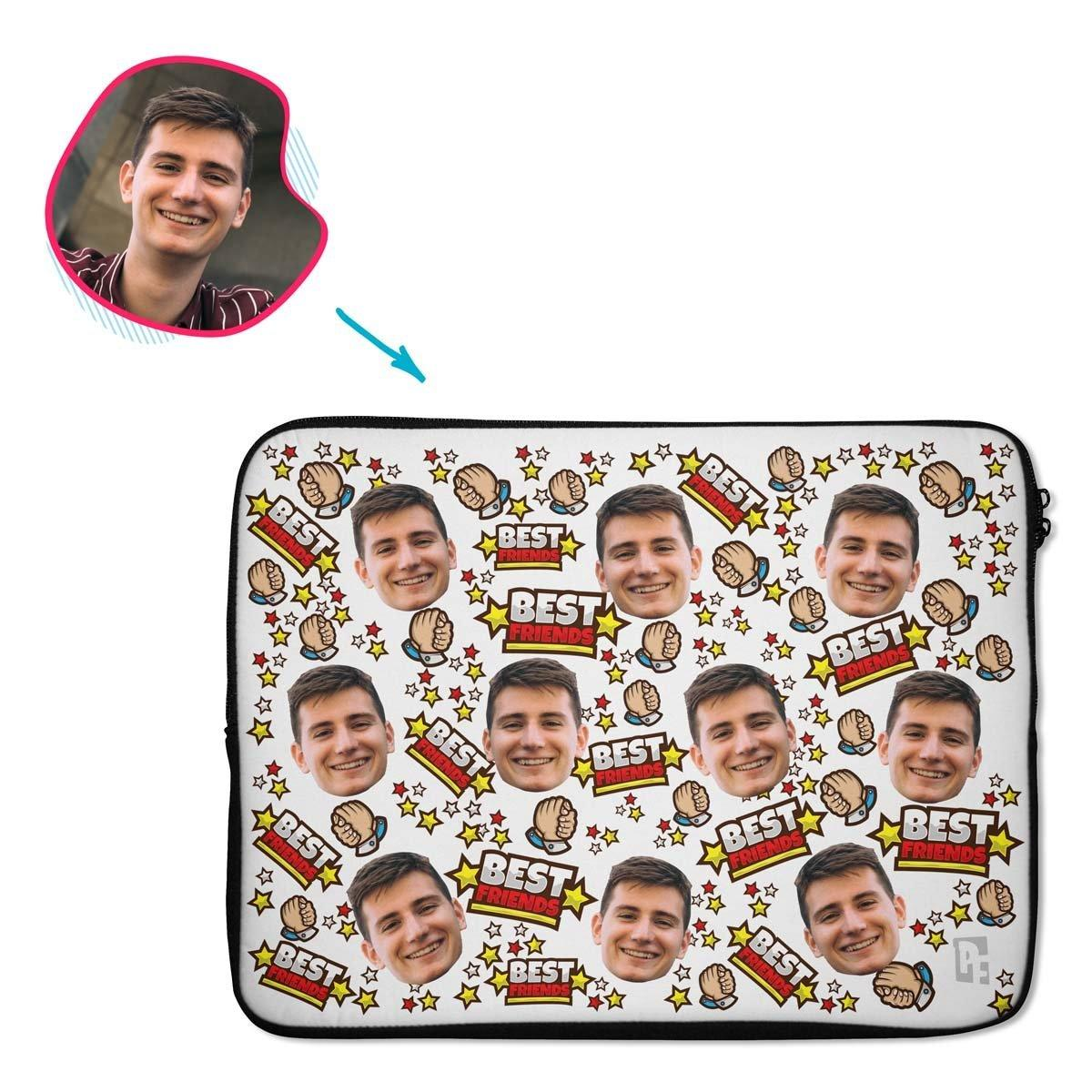 white Best Friends laptop sleeve personalized with photo of face printed on them
