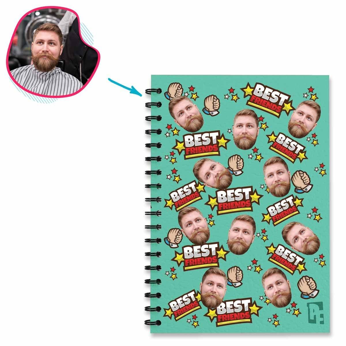 mint Best Friends Notebook personalized with photo of face printed on them