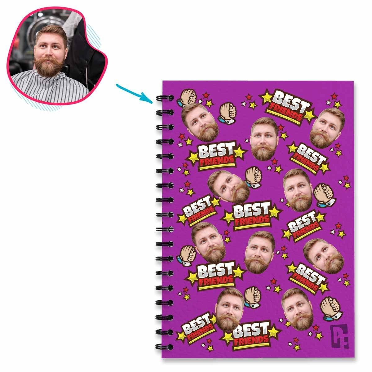 purple Best Friends Notebook personalized with photo of face printed on them