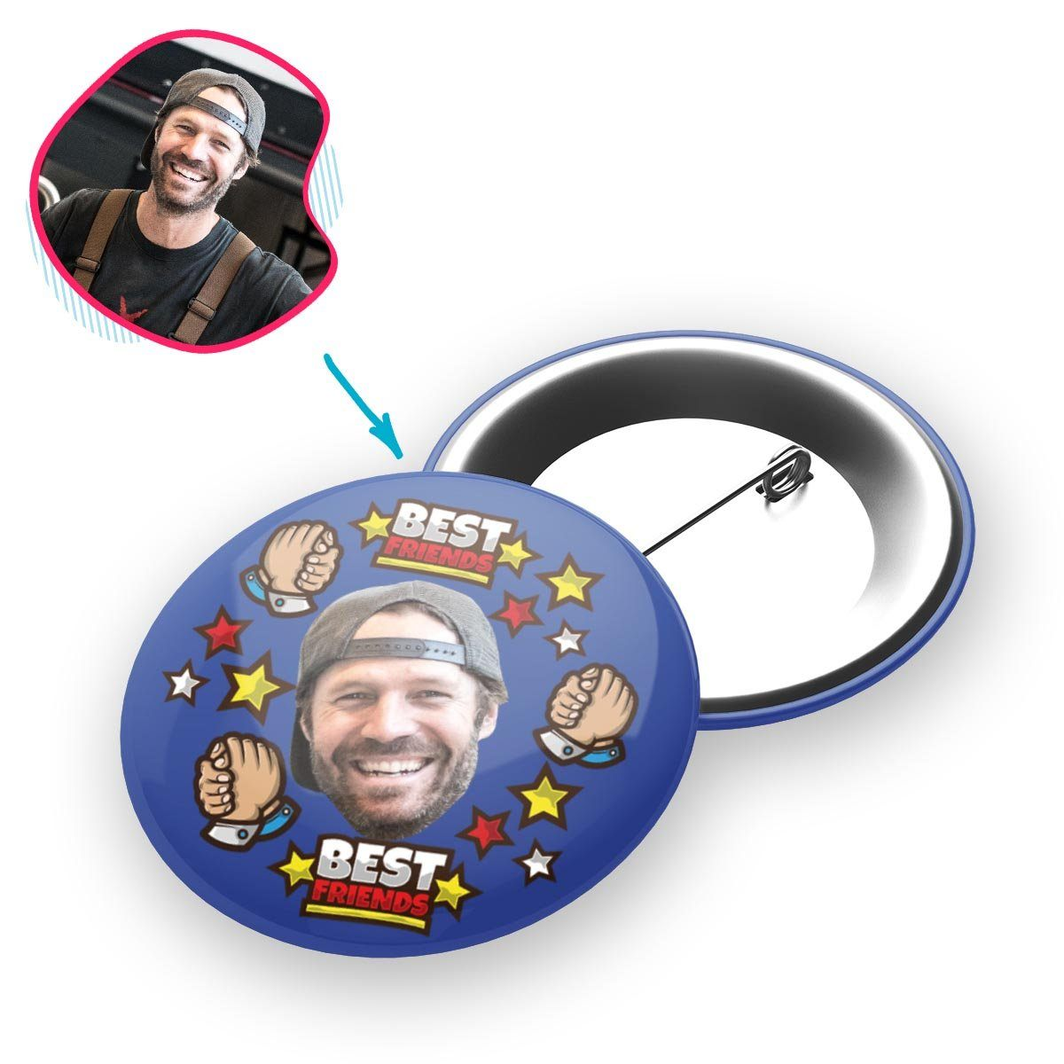darkblue Best Friends pin personalized with photo of face printed on it