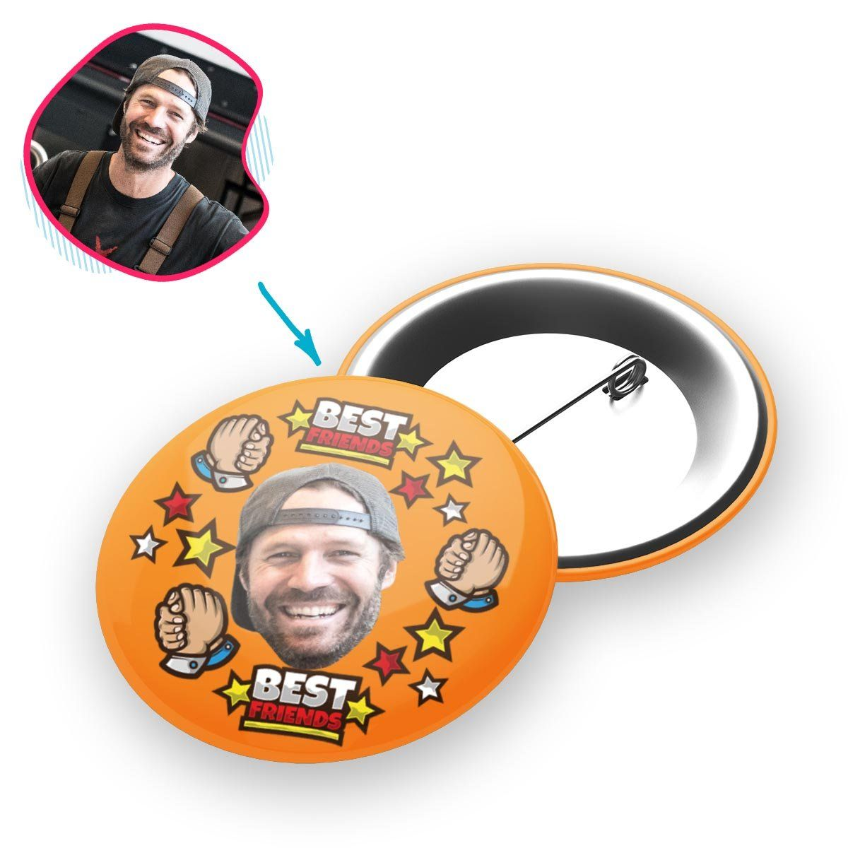 orange Best Friends pin personalized with photo of face printed on it