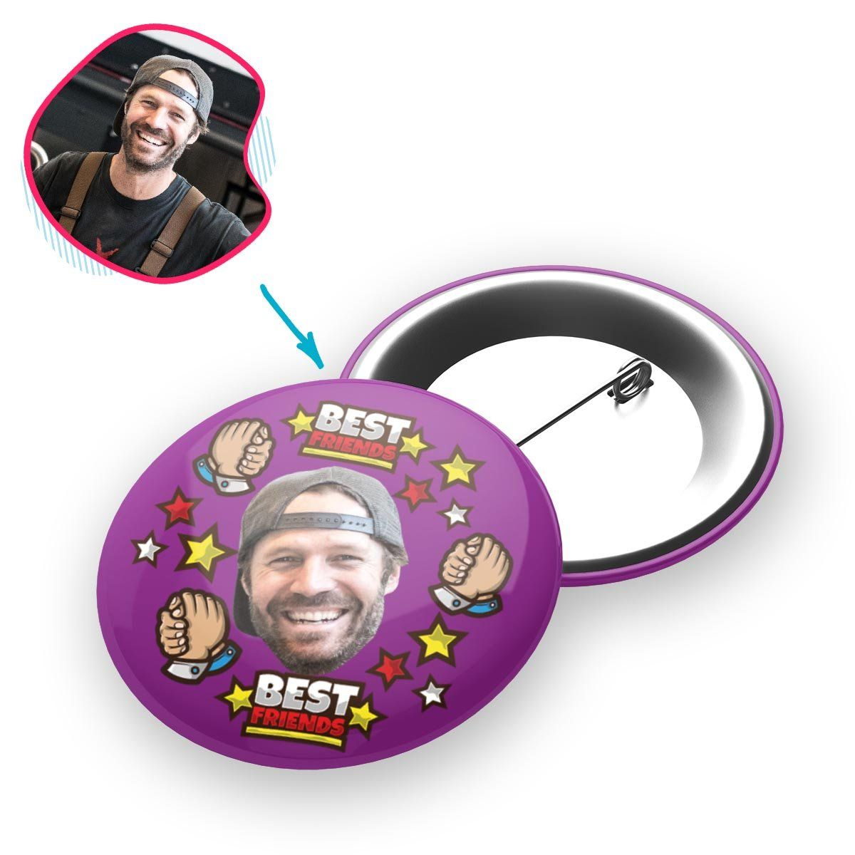 purple Best Friends pin personalized with photo of face printed on it