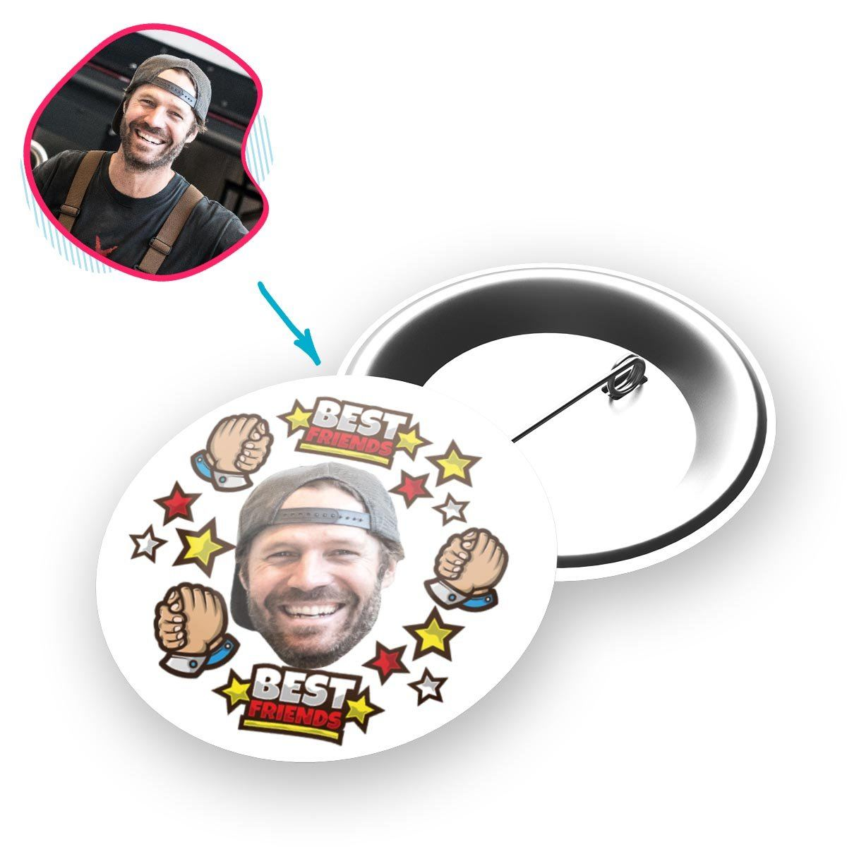 white Best Friends pin personalized with photo of face printed on it
