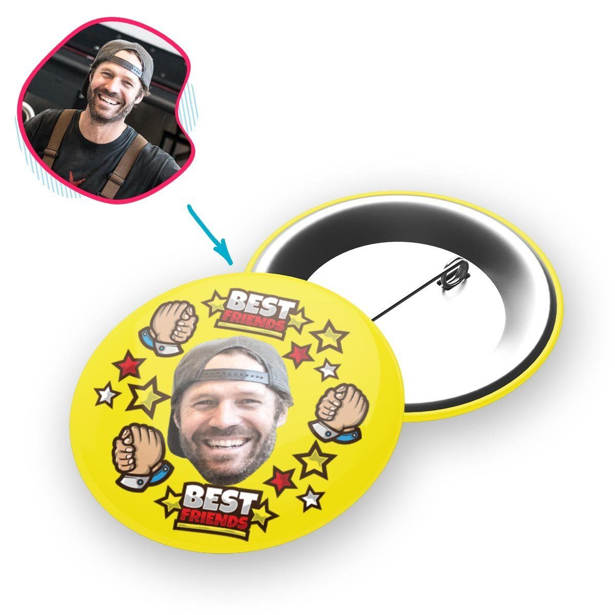 yellow Best Friends pin personalized with photo of face printed on it