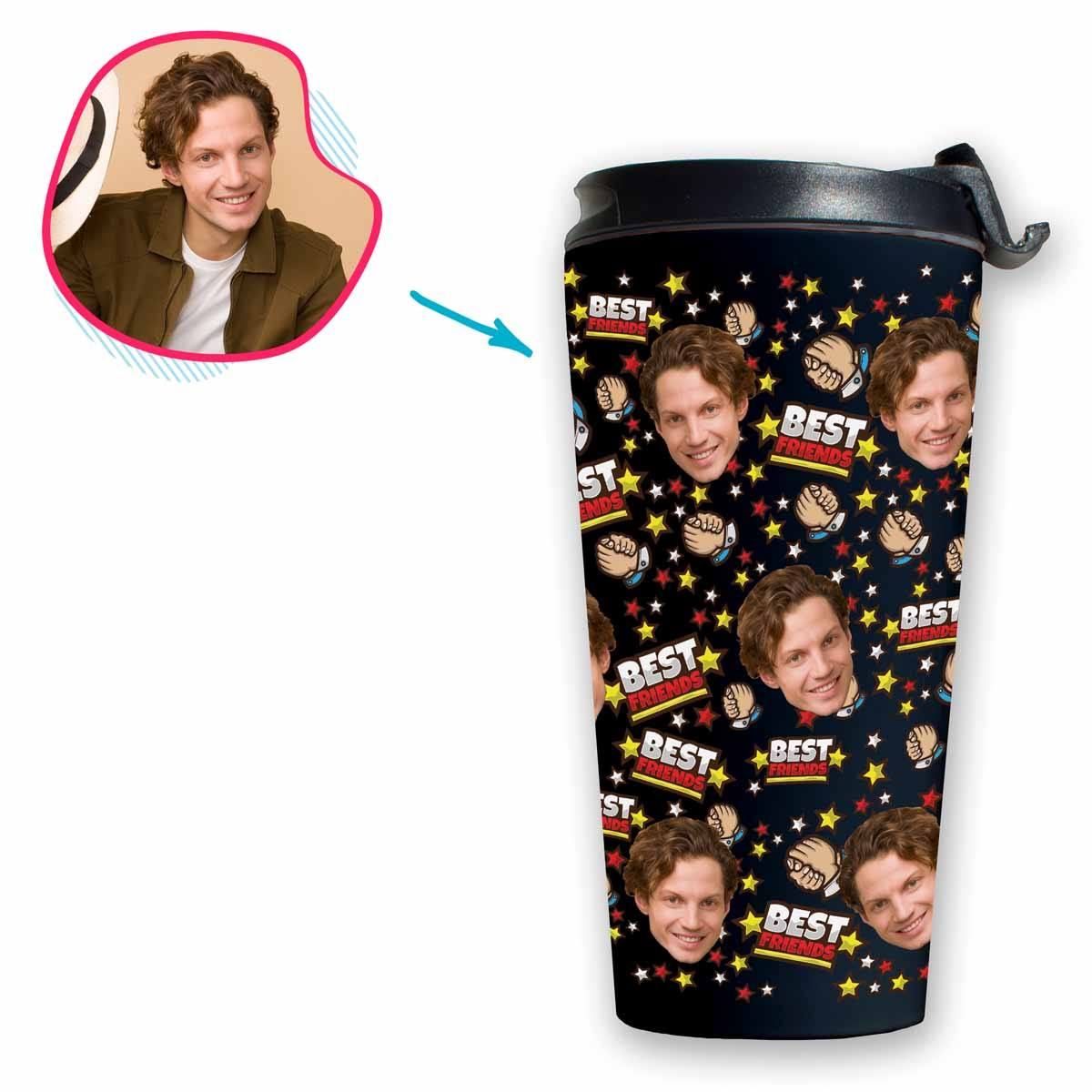 dark Best Friends travel mug personalized with photo of face printed on it
