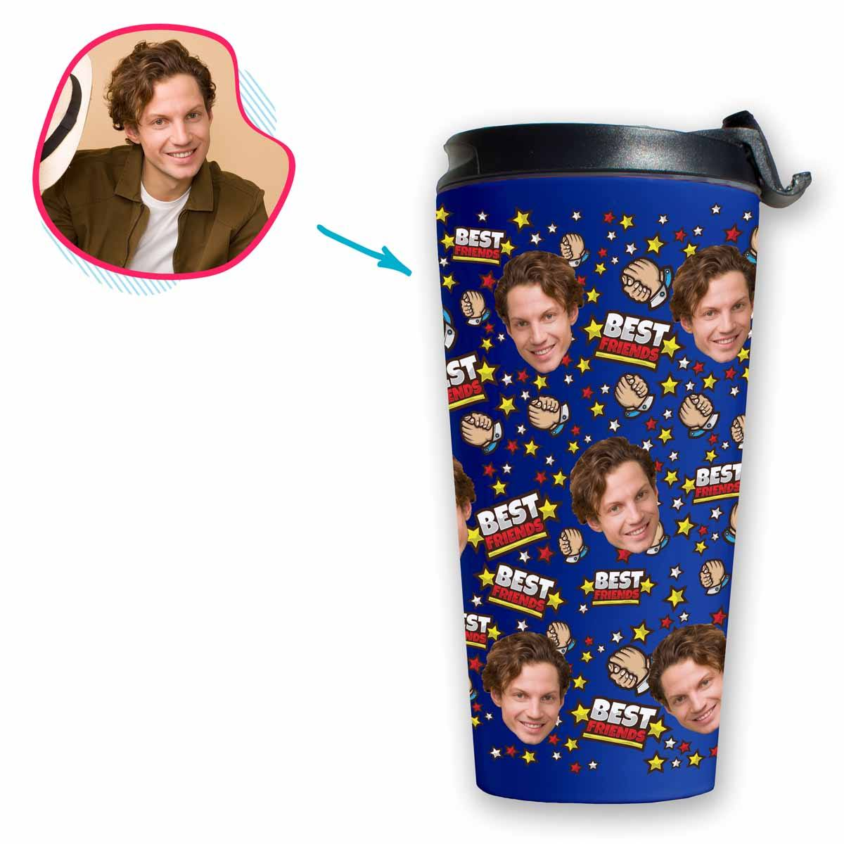 darkblue Best Friends travel mug personalized with photo of face printed on it