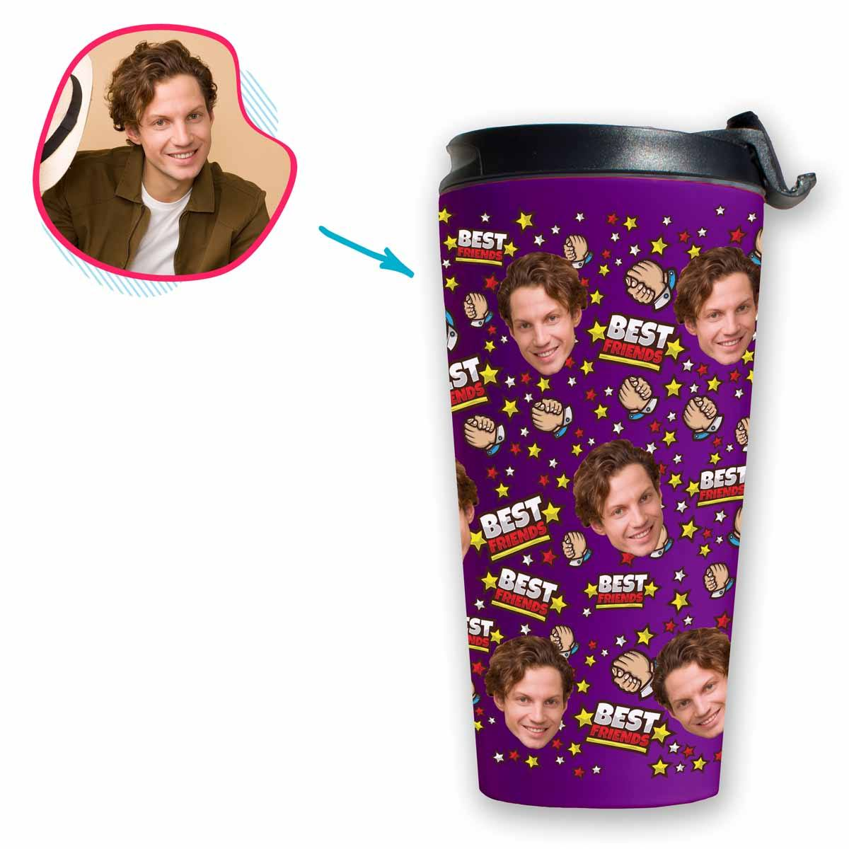 purple Best Friends travel mug personalized with photo of face printed on it