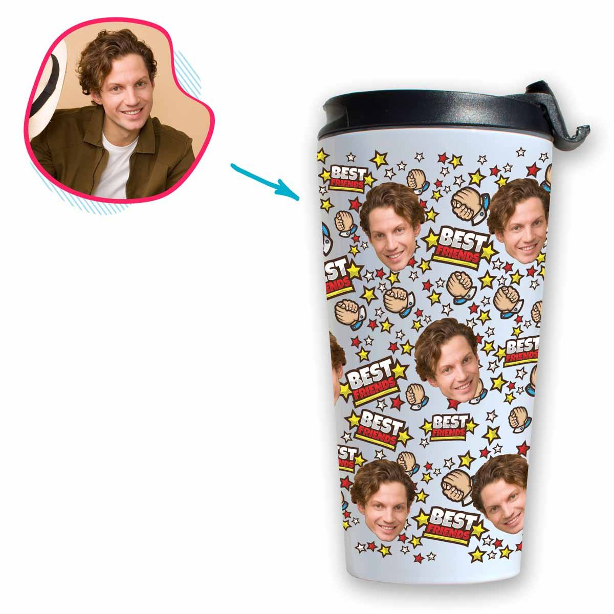 white Best Friends travel mug personalized with photo of face printed on it