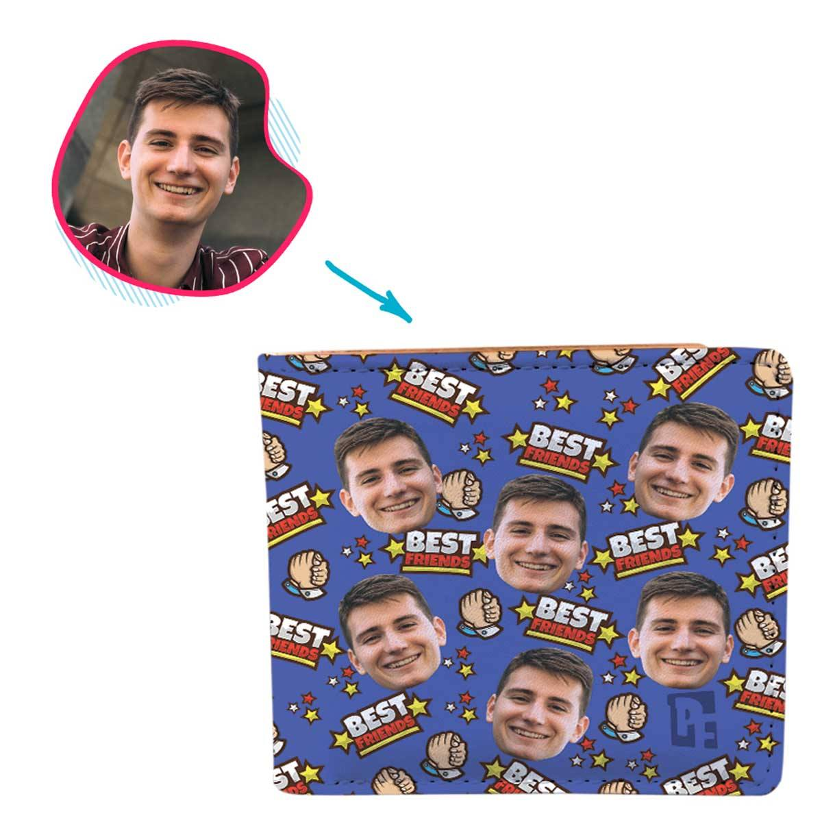 darkblue Best Friends wallet personalized with photo of face printed on it
