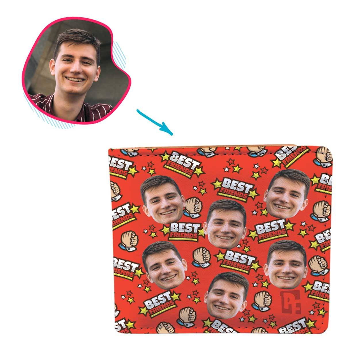 red Best Friends wallet personalized with photo of face printed on it